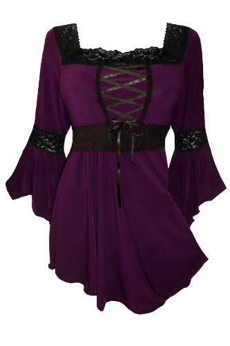 Dare to Wear Victorian Gothic Peasant Plus Size Women's Plus Size Renaissance Corset Top, Plum 3x ()