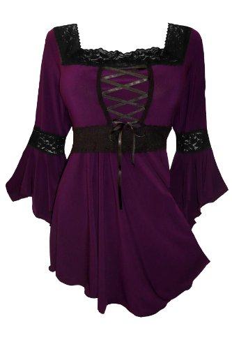 Dare to Wear Victorian Gothic Peasant Plus Size Women's Plus Size Renaissance Corset Top, Plum 3x