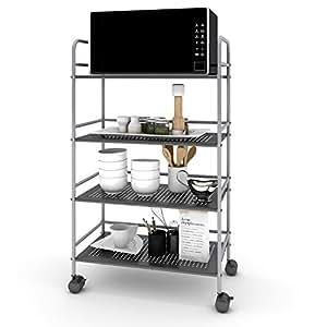 Lifewit 4 tier storage rolling cart microwave - Bathroom storage cart with wheels ...