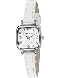 Womens AK/2385SVWT Easy to Read Silver-Tone and White Leather Strap Watch