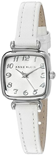 Anne Klein Women's AK/2385SVWT Easy To Read Silver-Tone and White Leather Strap Watch