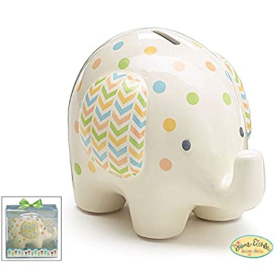 "Burton and Burton Ceramic Bank Elephant, White with Polka Dots, 6"" H : Baby"