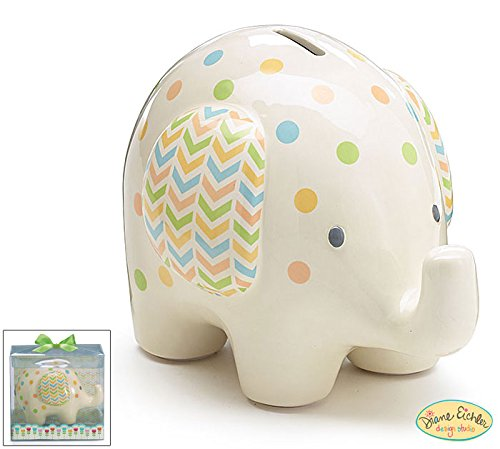 Burton and Burton Ceramic Bank Elephant, White with Polka Dots, 6