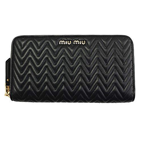 (MIU MIU Black Leather Long Wallet 5ML506 Zip Around)