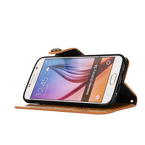 MEIRISHUN Leather Wallet Case Cover Carcasa Funda con Ranura de Tarjeta Cierre Magnético y función de soporte para Samsung Galaxy S6 - Caqui Caqui