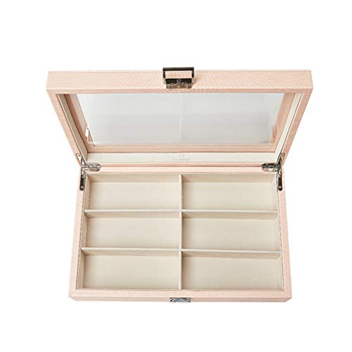 6 Slots Desk Valet Tray Organiser Collector Box Sunglasses Display Case Box For Watches, Eyeglass, Cufflinks, Rings And Small Accessories,Beige