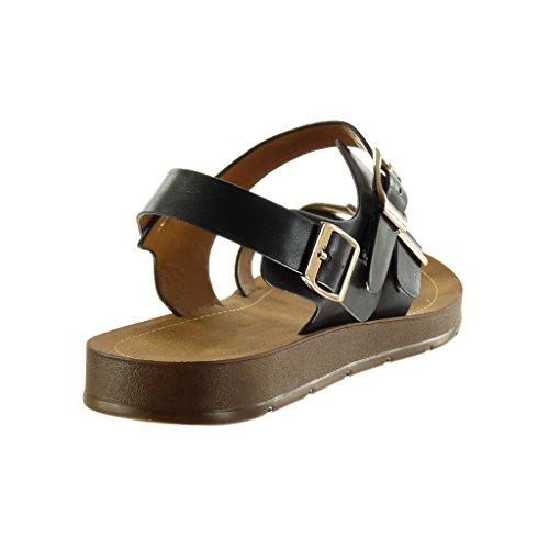 Angkorly - Zapatillas de Moda Sandalias mujer tanga Hebilla dorado Talón tacón plano 2 CM - Negro