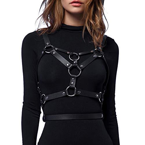 Body Leather - Homelex Women's Punk Leather Body Chest Straps Waist Harness Straps Adjustable (WM001)