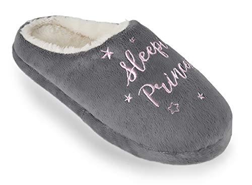 Slipper Mule Mule Slogan Ladies Slogan Slipper Ladies Grey Grey Ladies Slipper Grey Slogan Ladies Mule z8w4Z