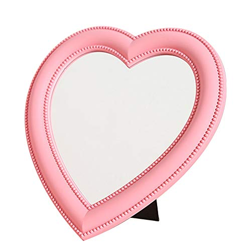 (Desktop Makeup Mirror Rotatable Girls Pink Heart-Shaped Mirror For Home, Jewellery Or Watches Cosmetics Showcase Cosmetic Mirror)