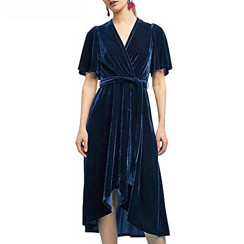 R.Vivimos Womens Crushed Velvet Pleated Wrap Tie Waist Elegant Flowy Plus Size Midi Dresses XXL Dark Blue