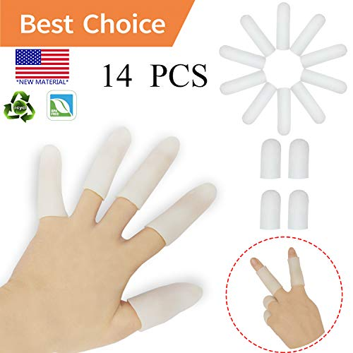 (Gel Finger Cots, Finger Protector Support(14 PCS) NEW MATERIAL Finger Sleeves Great for Trigger Finger, Hand Eczema, Finger Cracking, Finger Arthritis and More. (Small size) (White, Small))