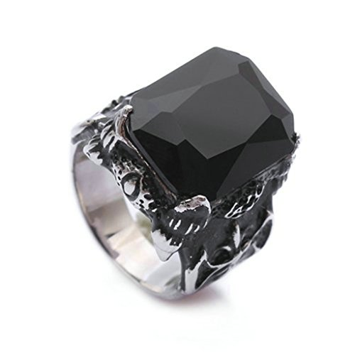 Stainless Steel Ring for Men, Square Ring Gothic Black Band Silver Band 2015MM Size 9 Epinki