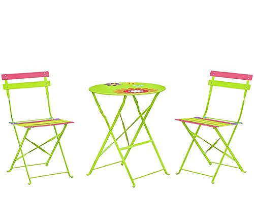 Living Express 3-Piece Outdoor Folding Bistro Set of Table And 2 Chairs,Dining Set,Colorful, Green Background with Flower
