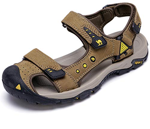 CAMEL CROWN Men's Leather Sandals Waterproof Hiking Sandals for Men Closed Toe Adjustable Strap Athletic Outdoor Water Shoes for Men Travel Sport Beach Summer Trekking Light Tan Size 11