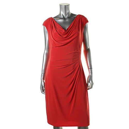 Lauren Ralph Lauren Coral Women's Cowl-Neck Sheath Dress Orange ()