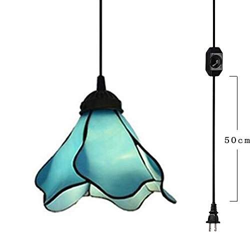 Blue Glass Mini Pendant Chandelier - Kiven Plug-In Mediterranean Style Blue Mini Pendant Lamp Retro Lighting 15ft UL Certification Black Cord With On/Off Dimmer Switch, Bulb Sold Separately (TB0059)