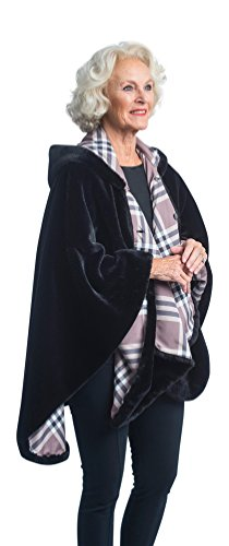 FurCaper Fur-Lined Rain Cape (Coco Plaid) (Plaid Raincoat Lined)