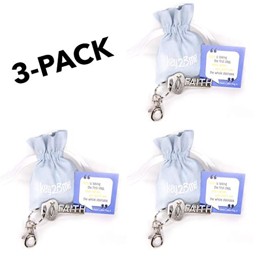 3-Pack key2Bme Faith Key - Christian Fish MLK Keychain & Inspirational Quote - Cool Fun Small Gift Under $10 for Giving boy Girl Teen Women Catholic First Communion Reconciliation