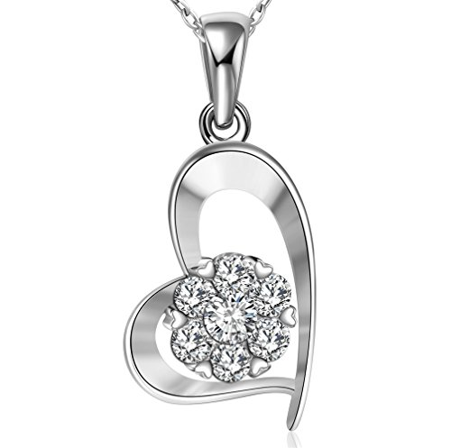 14k White Gold Heart Pendant Necklace for Women Jewelry Necklace with Cubic Zircon LEYA 18 Inch Silver Necklace Valentines Gift Box Packege (White Zircon Necklace)