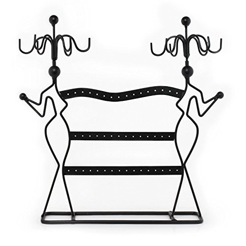 Adorox Two Lady Jewelry Earring Holder and Necklace Stand Rack Woman's Bedroom Display