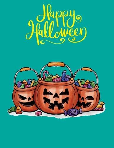 happy halloween: Sketchbook halloween pumpkins and candies green gray color  8.5