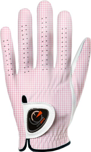 (easyglove CLASSIC_VICHY-PINK-W Women's Golf Glove (White), Small, Worn on Left)