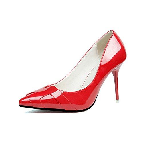 Cybling Sexy Bout Pointu Talons Aiguilles Robe Pompes Pour Femmes En Cuir Verni Chaussures De Soirée Rouge