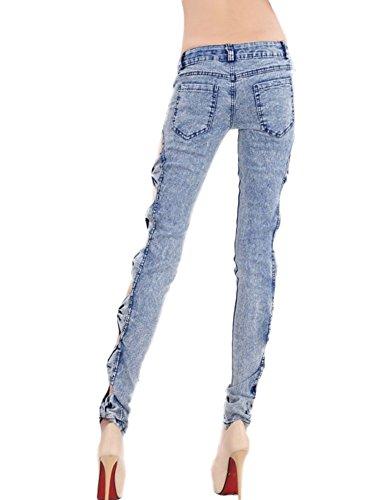 Idopy Mujeres Flaco Delgado Diseño De Moda Vaqueros Pantalones Pantalones Tres Color Azul
