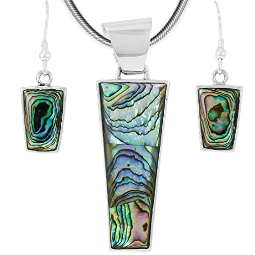 - 925 Sterling Silver Matching Pendant & Earrings Set Genuine Abalone Shell 20