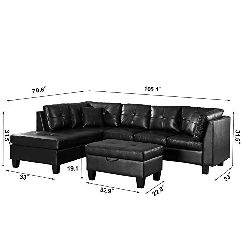 Merax Sectional Sofa with Chaise and Storage Ottoman, PU leather /2 Square Pillows, Black