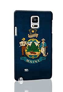 Andream Gift - Note 4 Case -Maine State Flag Art - Durable Unique Design Diy Hard 3D Case Cover Rough Skin for Samsung Galaxy Note 4