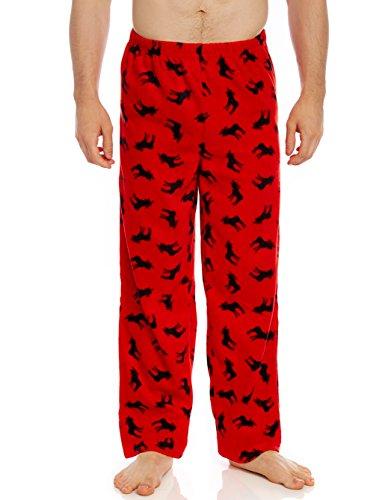 Leveret Mens Pajamas Pants Fleece Lounge Sleep Pj Bottoms (Moose, Small)