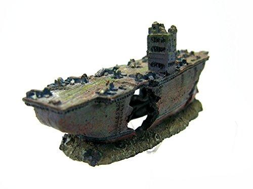Dr. Moss Aircraft Carrier Cave Aquarium Ornament- NAVY Warship Battleship Decoration Ship