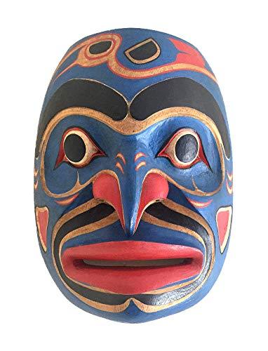 (OMA Native American Wall Decor Art Blue Man Shaman Wall Mask Hand Crafted Solid Wood - Premium Quality)