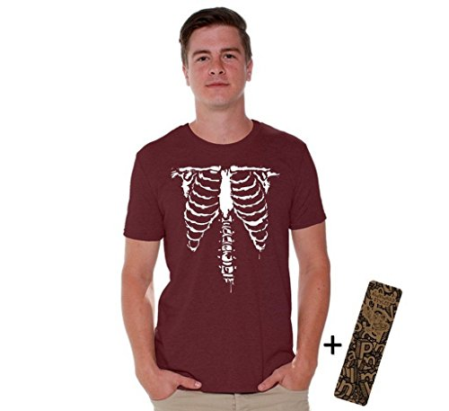 Awkwardstyles Halloween Shirt Front Ribcage Skeleton Costume T-shirt + Bookmark L Maroon