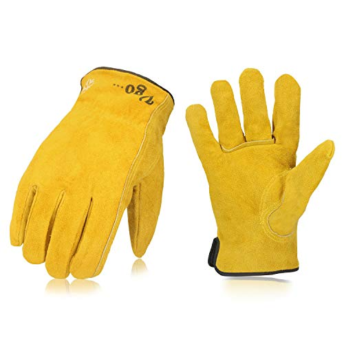 Vgo 3Pairs 32℉ or above 3M Thinsulate C40 Winter Lined Cowhide Split Leather Work and Driver Gloves, For Heavy Duty/Truck Driving/Warehouse/Gardening/Farm/Cold Storage(Size XL,Yellow,CB9501F)