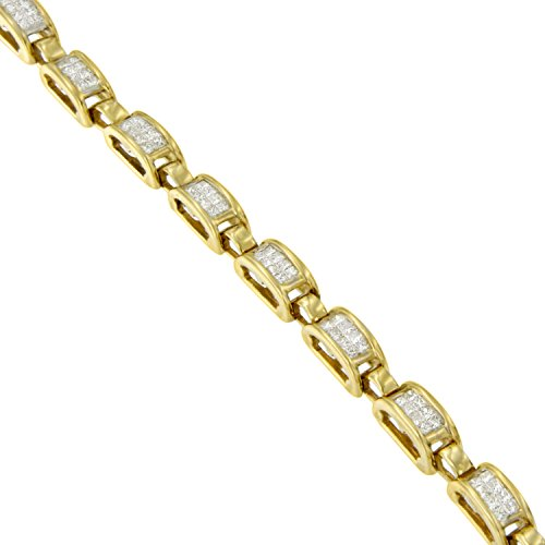 14K Yellow Gold Princess Cut Diamond Links of Love Bracelet (2.00 cttw, H I Color, SI2 I1 Clarity)