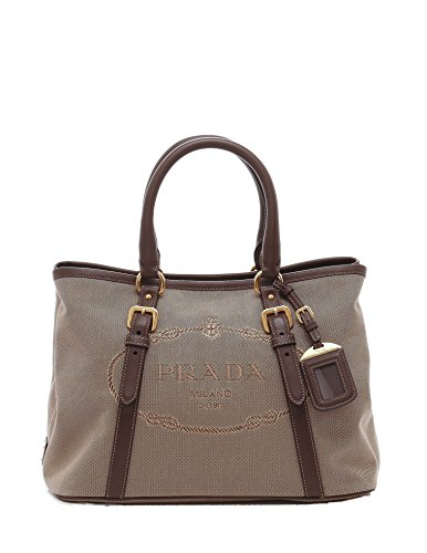 Prada Canvas and Soft Leather Shoulder Bag - Rope / (Prada Canvas Handbag)