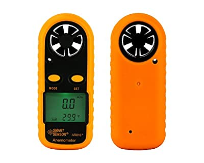 Digital Pocket Wind&Temperature Weather Meter Thermo Anemometer Measures Wind Speed+Air Flow Velocity+Wind Chill(AR816+)