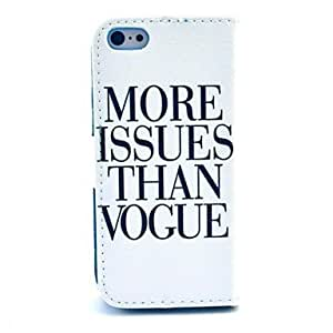 QYF More Issues Than Vogue Pattern PU Leather Case with Stand and Card Slot for iPhone 5C