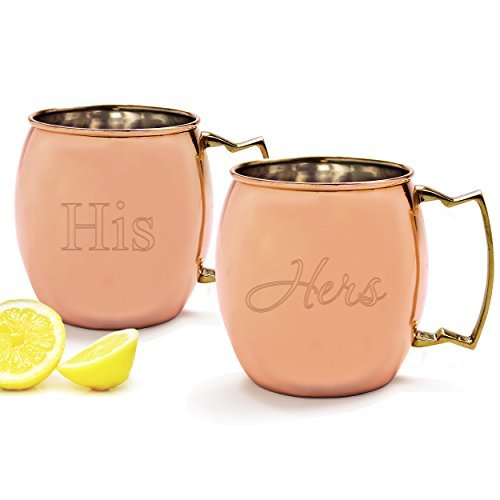 Cathy's Concepts His/Hers Moscow Mule Copper Mug with Polishing Cloth, Copper, Set of 2 by Cathy's Concepts by Cathy's Concepts
