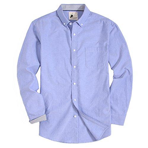 Alex Vando Mens Casual Button Down Shirts Modern Fit Oxford Shirts(Blue,Small)