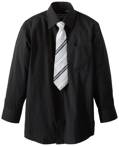 Tie Black Clothes (American Exchange Big Boys' Dress Shirt with Tie and Pocket Square, Black, 12)