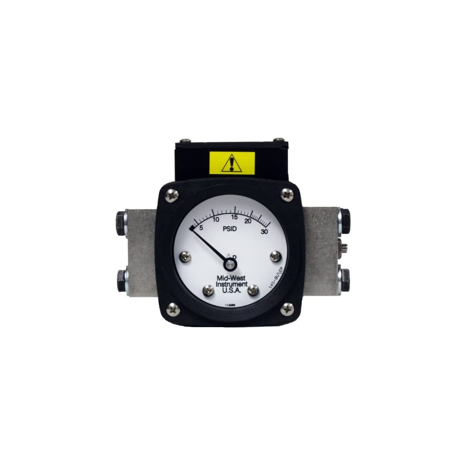 Mid West 140 SA 00 O(EA) 100P Differential Pressure Gauge with 316 Stainless Steel Body and 316 Stainless Steel Internals, 1 Reed Switch in NEMA 4X/IP66 Class1 Div.2 Aluminum Enclosure, Diaphragm Type, 2% Full Scale Accuracy, 2 1/2 Dial, 1/4 FNPT Back Co