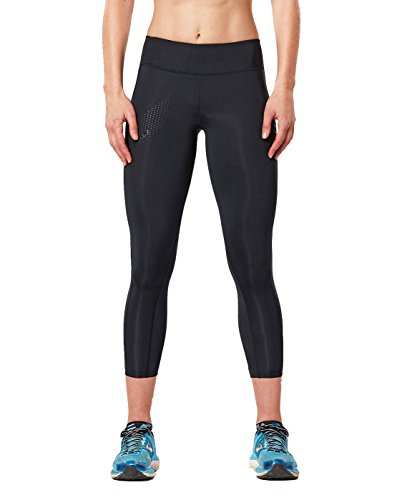 2XU Women's Mid-Rise 7/8 Compression Tights, Black/Dotted Black Logo, Small Tall by 2XU (Image #1)