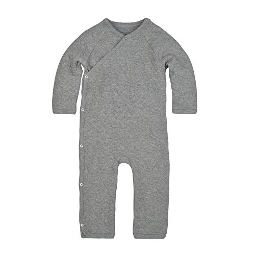 Burt's Bees Baby Romper Jumpsuit, 100% Organic Cotton One-Piece Coverall, Preemie, Heather Grey Quilted Kimono
