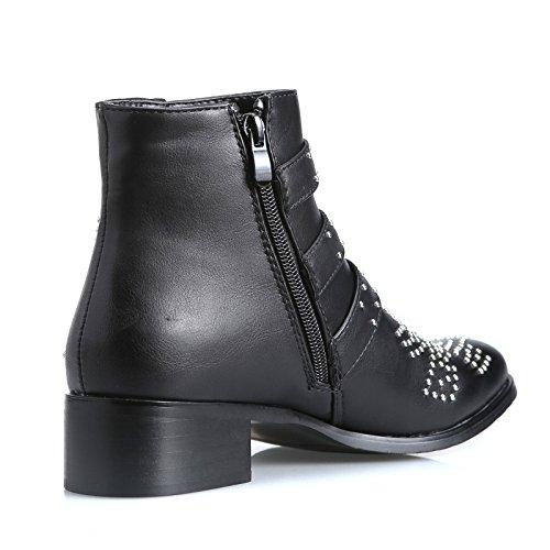 Nero borchie scarpe donna 9235 tronchetto pelle MForshop biker eco stivaletti fibbie HSqxCw6