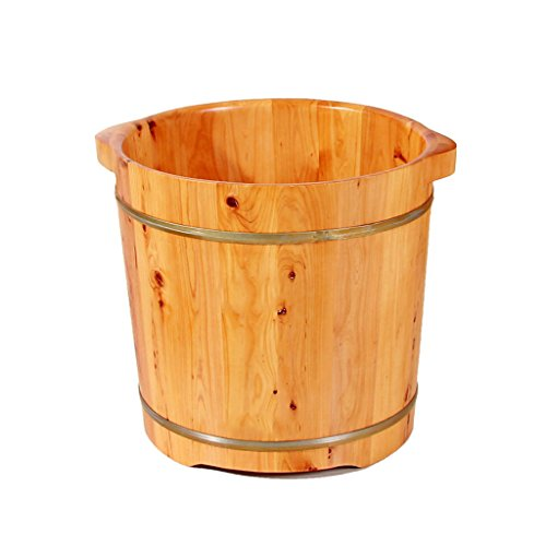Qing MEI Foot Bath Heightened Solid Wood Ear Wash Basin Foot Wash Basin Adult Insulation Foam Bucket to Relieve Fatigue 37x36cm A++ (Bath Bucket Wood)