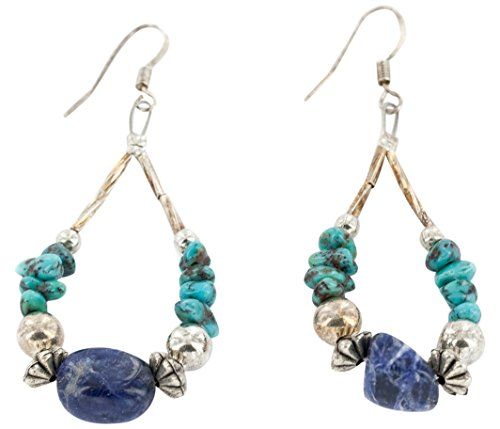 Native-Bay Authentic Made by Charlene Little Silver Hooks Dangle Natural Turquoise Lapis Hoop American Earrings